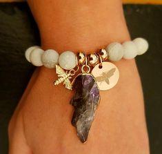 Items similar to Natural Stone bracelet / Amethyst crystal / Moth / Charm Bracelet / stacking bracelets / meditation jewellery / crystal gift on Etsy Amethyst Crystal, Crystal Pendant, Crystal Gifts, Stone Bracelet, Stones And Crystals, Natural Stones, Handmade Items, My Etsy Shop, Moth