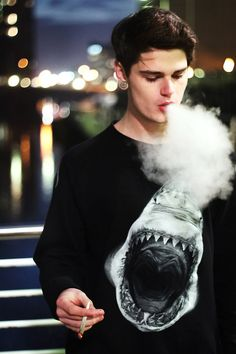 smoke,shirt,shark,black,white, hot guy, guy swag, boy swag, lights, brunette,smoking