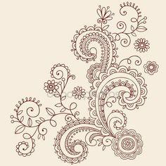 Vektör tasarım kına mehndi desenli çiçek ve sarmaşıklar doodle — Stok İllüstrasyon #8247892