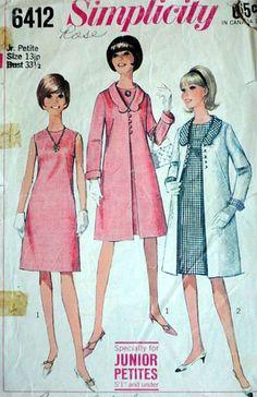 Junior Petites' Dress and Coat, Simplicity 6412 Vintage 60's Sewing Pattern, Size 13 JP, 33.5 Bust, Retro/Mod