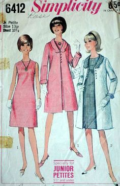 Junior Petites' Dress and Coat, Simplicity 6412 Vintage 60's Sewing Pattern, Size 13 JP, 33.5 Bust, Retro/Mod