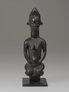 Punu. <em>Figure of a Female</em>. Wood, pigment, with mount: 9 1/4 x 3 in. (23.5 x 7.6 cm). Brooklyn Museum, Gift of the Ralph and Fanny Ellison Charitable Trust, 2015.88.5. Creative Commons-BY (Photo: Brooklyn Museum, 2015.88.5_front_PS9.jpg)
