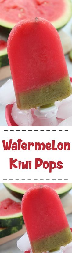 Watermelon Kiwi Pops :: Refreshing and fun summer fruit pop recipe!