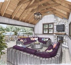 A great outdoor living area with a fantastic lakeside view. Design by @charlottehlucas #interiordesign #handrendering #presentationrenderings