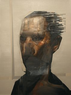 Daniel Ochoa. The Blinds Retrato. Oil and mixed media on canvas.