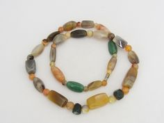 Vintage Jewelry Multi Color Natural Agate Stone Bead Necklace 24'' Length by wandajewelry2013 on Etsy