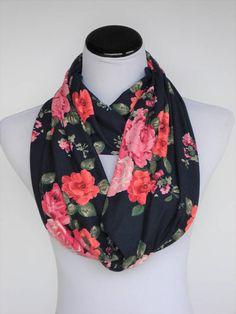 Pink Coral Black Floral scarf Infinity scarf feminine scarf