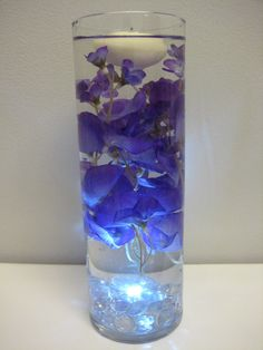 Wisteria Floating Candle Wedding Centerpiece Kit with Clear Gems LED Light
