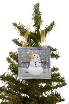 Snowman Christmas Ornament, Hand Embroidered, Wool Ornament, Felt Ornament, Christmas Decoration, Gift Decoration, Winter Snowman, Handmade
