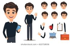 Pack of body parts and emotions. Vector character illustration in cartoon style Business man cartoon character creation set. Young handsome smiling businessman in smart casual. Vector Character, Character Flat Design, Man Character, Character Creation, Character Concept, Avatar, Male Cartoon Characters, Cartoon Man, Sales Skills