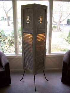 Repurposed Vintage Shutter Floor Lamp w/Distressed Finished & Pine Tree Cutout. $419.99, via Etsy.
