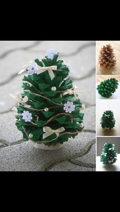 diy pinecone painted & decorated as Xmas tree. Pine Cone Christmas Decorations, Pine Cone Christmas Tree, Noel Christmas, Christmas Crafts For Kids, Christmas Projects, Simple Christmas, Holiday Crafts, Christmas Ornaments, Christmas Ideas