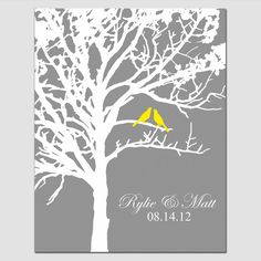 Family Tree Wedding Gift - Family Established Personalized Print - - Birds in a Tree, Names, Ho Wedding Gifts For Parents, Wedding Gifts For Groom, Custom Wedding Gifts, Great Wedding Gifts, Wedding Keepsakes, Bride Gifts, Wedding Ideas, Gift Wedding, Love Birds Wedding