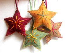 Star Christmas ornaments - set of four felt ornaments - handmade star ornaments