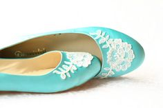 Your place to buy and sell all things handmade Turquoise Wedding Shoes, Wedding Flats, Lace Bride, Blue Satin, Flat Shoes, Low Heels, Happy Shopping, White Lace, Ballet Flats