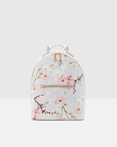 Oriental Blossom leather backpack - Light Gray | Bags | Ted Baker