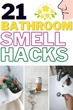 Can't seem to get rid of that unknown odor in your bathroom? If you want your bathroom to smell fresh and clean again then, you will love these 21 smell hacks. Your bathroom will smell amazing all day everyday and you will save tons of money while keeping your home safe from toxic chemical. Check this post out and smell the difference! #homewhis #bathroomsmellhacks #smellhacks #cleaninghacks #householdhacks #cleaningtips #householdtips Bathroom Cleaning Hacks, Toilet Cleaning, House Cleaning Tips, Diy Cleaning Products, Cleaning Solutions, Brushing With Baking Soda, Odor Remover, Shower Cleaner, Cleaners Homemade