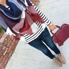 Plaid Triangle Scarf, striped shirt, Petite skinny ankle jeans, Vince Camuto Franell western booties, Tory Burch thea double zip satchel, fall fashion, plaid and stripe outfit, casual outfit, petite jeans, petite fashion, how to tie a blanket scarf - click the photo for outfit details!