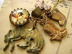 Vintage Cowgirl Pinup Cluster Charm Necklace by nostalgems on Etsy