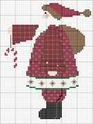 Free country cross stitch pattern: Santa holding Candy Cane
