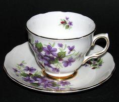 Colclough Violets Teacup and Saucer