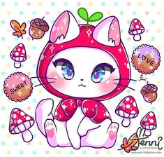Cutest art of sparkling kittens from Jennillustrations Kawaii Doodles, Cute Doodles, Kawaii Art, Kawaii Anime, Cute Animal Drawings Kawaii, Cute Cat Drawing, Cute Drawings, Chibi Cat, Cute Chibi