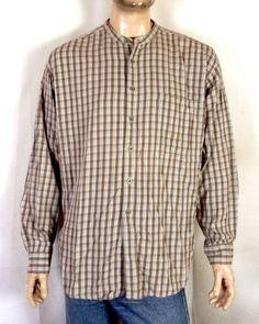 011c4a0a6c8efc vtg 80s 90s Levis Quality Clothing Light Gray Plaid Flannel Shirt  Collarless XL Plaid Flannel