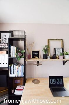 Amazing craft room makeover - soft stone (pink) dulux paint on the walls with black accents and upcycled furniture. Craft room on a budget with lots of storage Dark Interiors, Beautiful Interiors, Upcycled Furniture, Furniture Projects, Dulux Paint, Dark Furniture, Office Makeover, Office Designs, Bright Colours