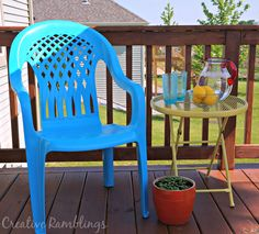 painted chair table and pot