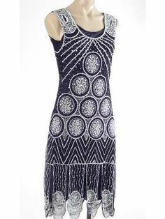 Modern Flapper Dress | 1920s Flapper Dresses-20's Style Silver Beaded Black Flapper Dress