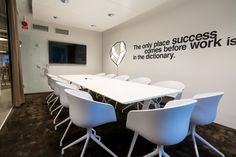 "The meeting room. ""The only place success comes before work is in the dictionary."" #meetingroom #office #design #hee #welling #chairs #Meteor #vägglampa #quote Ideas » Design Concept Event"
