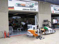 Adrian Sutil Garage 2010 Canadian GP Pit Lane (Photo by: Jose Romero Lopez)