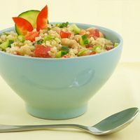 Quinoa Salad with Ginger Lime Dressing. Makes a great lunch option as quinoa is a good source of protein