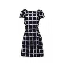 Chiffon Plaid Round Neck Short Sleeve Mini Dress (580 RUB) ❤ liked on Polyvore featuring dresses, black, chiffon sleeve dress, sleeved dresses, short sleeve mini dress, tartan dress and short-sleeve dresses