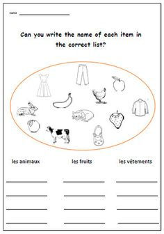 ... French printable Worksheets on Pinterest | Worksheets, French and Kids