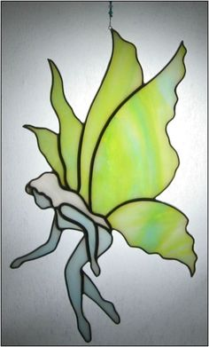 Stained glass Fairy Suncatcher in blue and by RainbowStainedGlass, €35.00