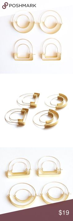 """Artisan Modo Hoop Earrings Pick your poison. Dramatic or dainty, round or square, these sculptural hoops will be your everyday go-to's. Built with a brass bottom piece and gold fill wire on top, earrings are easy to slide on and always stay secure. By Sarah Safavi Jewelry. Large - 1.5"""" diameter Small - 1"""" diameter Handcrafted in San Francisco Sarah Safavi Jewelry Earrings"""