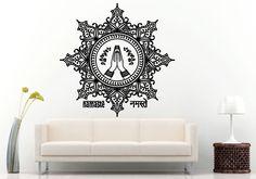 Wall Room Decal Vinyl Sticker Praying Hands Inside Mandala Pattern Namaste L895 #3M #VinylPrintArtDecalStickerDecorWallRoomHome