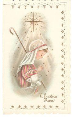 Vintage Christmas Card Shepherd Boy Lamb Glitter Unused With Envelope