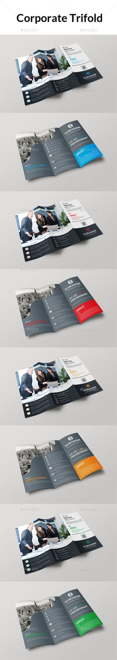 Trifold Brochure - Brochures Print Templates File Information 297×210 print dimension with Bleed(.25) + Trim Mark, Well Layered Organised EPS (CS3), 4 Colour Versions, CMYK , Print ready, Text/fonts/colors editable. Fonts html links inside in help file.