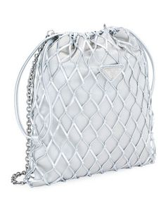 9931eea706be Prada Netted Satin Pouch Crossbody Bag