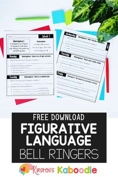 Are you teaching your students about figures of speech? These figurative language activities are free and include similes and metaphors. They are perfect as a warm-up, bell ringer, early finisher, or group activity. Grab these free bell ringers by entering your name and email address. A full year product that includes proverbs, adages, hyperboles, idioms, alliteration, similes, metaphors, puns, personification, and onomatopoeia is also available. #figurativelanguage #figuresofspeech