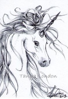 Unicorn Fantasy Horse Ballpoint Pen Drawing Original ACEO Art by Tanya London  www.Facebook.com/TanyaLondon.Art