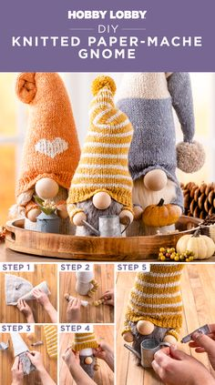 Turn a paper-mache cone into a charmingly cozy gnome with knittable details.