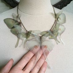 I Will Fly Away - Handmade Luna Moth (Actias Luna) Silk Organza Butterflies Moths and Wings Necklace