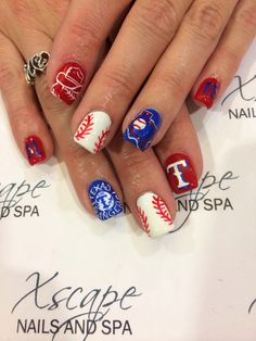 Texas Rangers Nails Left Hand Thumb Nail Right My Pinterest