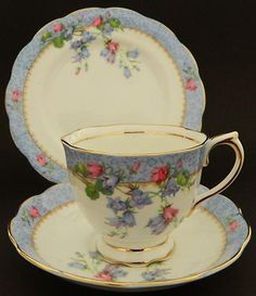 "English bone china, Royal Albert ""Harebell"" trio (found these 3 in Owego NY antique store, paid $3, 1 chip)"