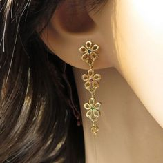 14k Gold Dangle Earrings  Gold Flowers by malkaravinajewelry