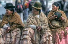 Women in traditional dress.Guachi, Bolivia