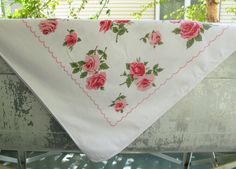 Vintage Floral Pink Tablecloth by PassedBy on Etsy, $28.00